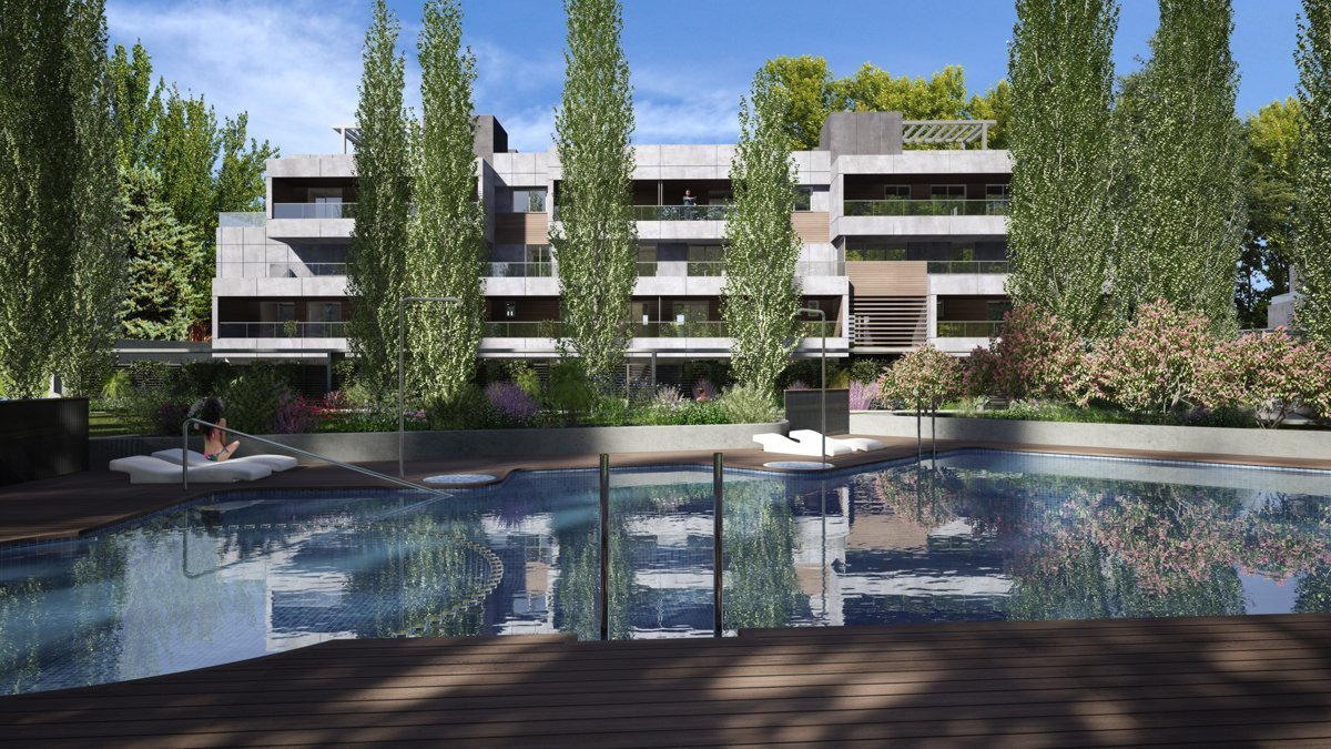 render exterior swimming pool view of Sausalito residential