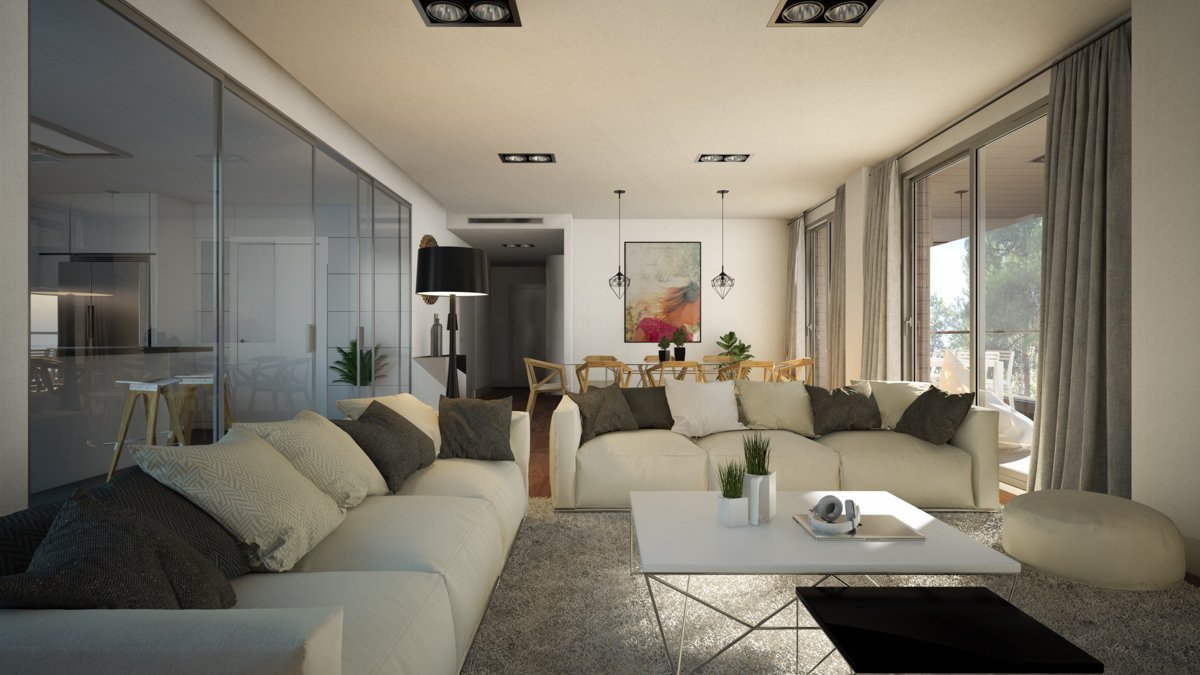 render interior living room view of Sausalito residential