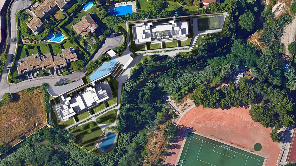 render exterior aerial view of Sausalito residential