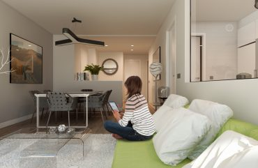render interior living room view of Helios block of flats at Gijón