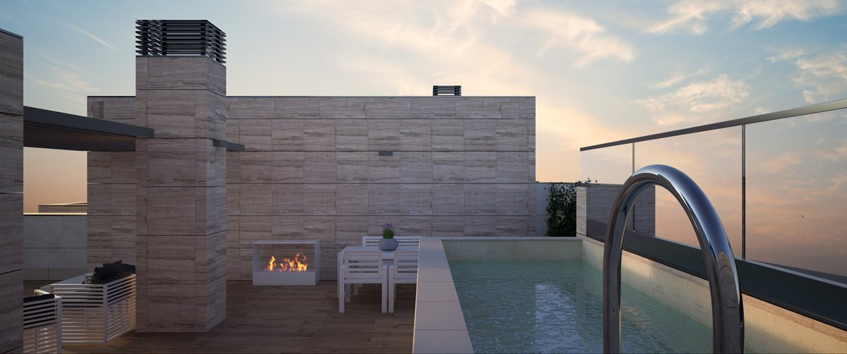 render exterior private swimming pool at the penthouse view of Greta block of flats at Zaragoza