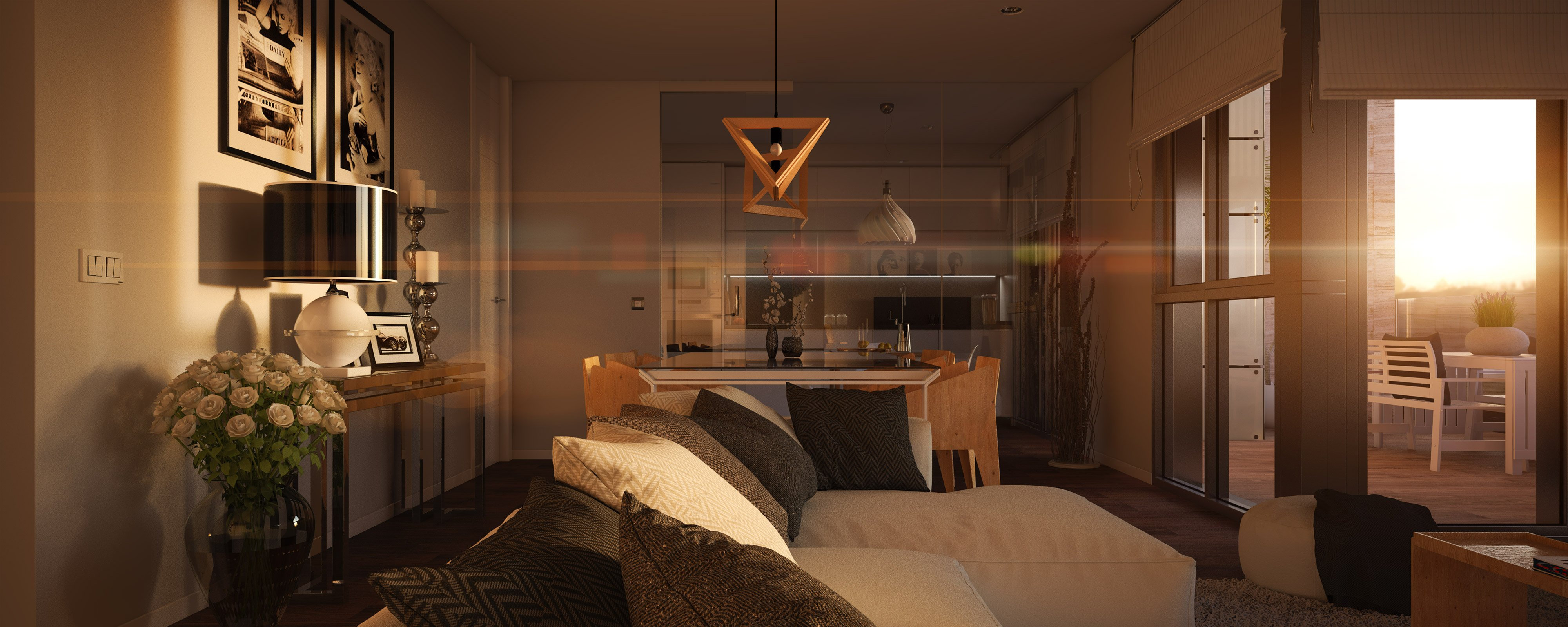 render interior at sunset  of living room at of Greta block of flats by GAYARRE infografia