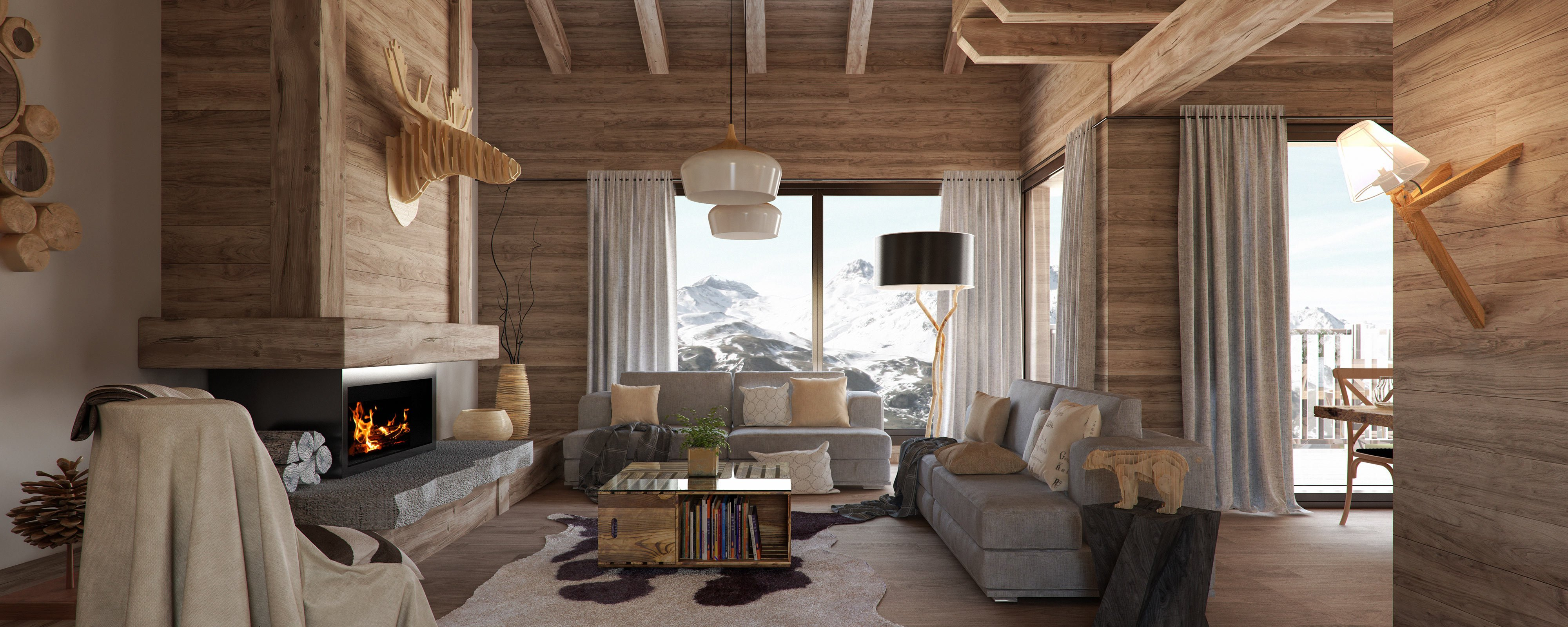 render interior of living room at of Grand Piolet attached houses by GAYARRE infografia