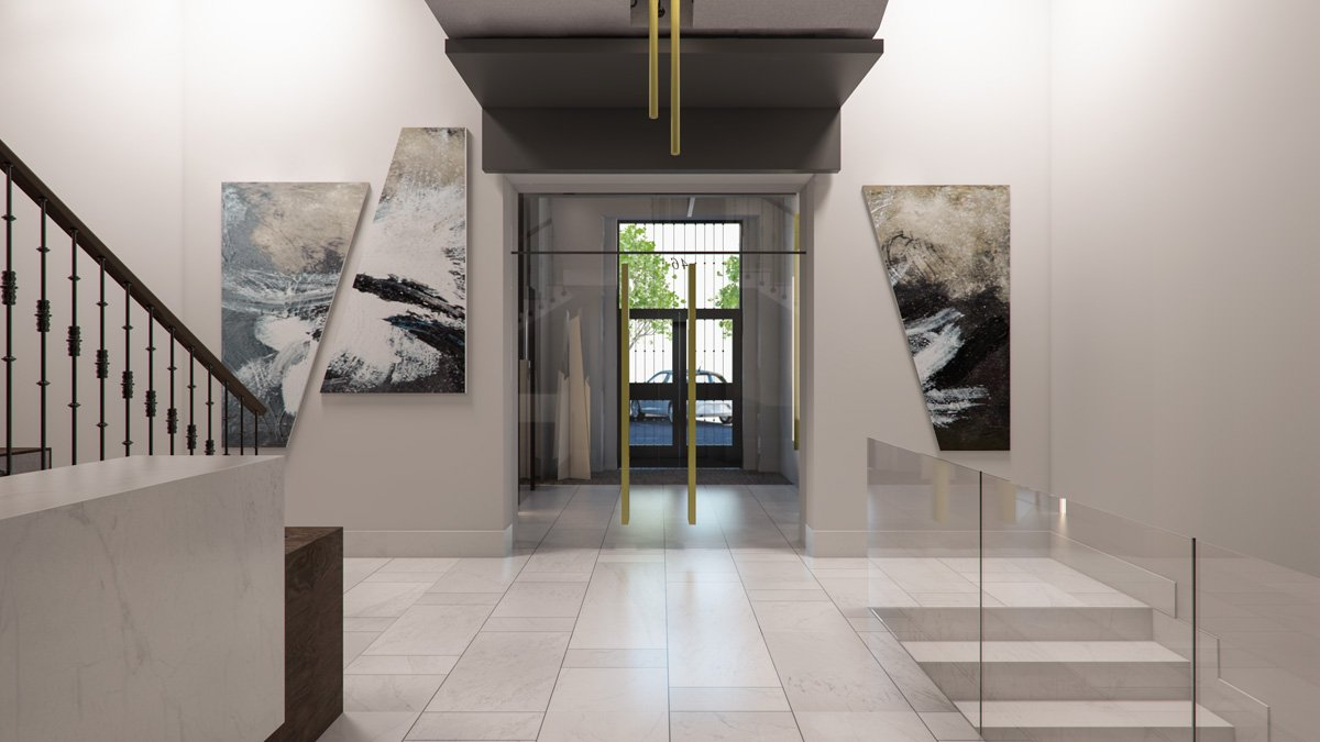 render interior hallway view of Lagasca 46 luxury block of flats at Madrid