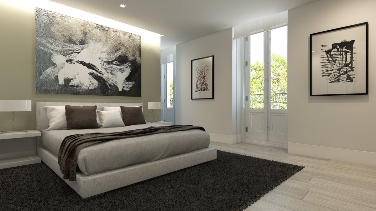 render interior bedroom view of Lagasca 46 luxury block of flats at Madrid