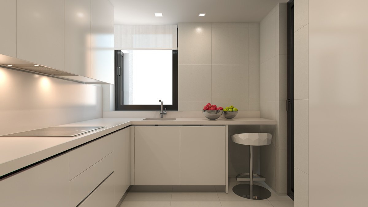 render interior kitchen view of Lagasca 46 luxury block of flats at Madrid