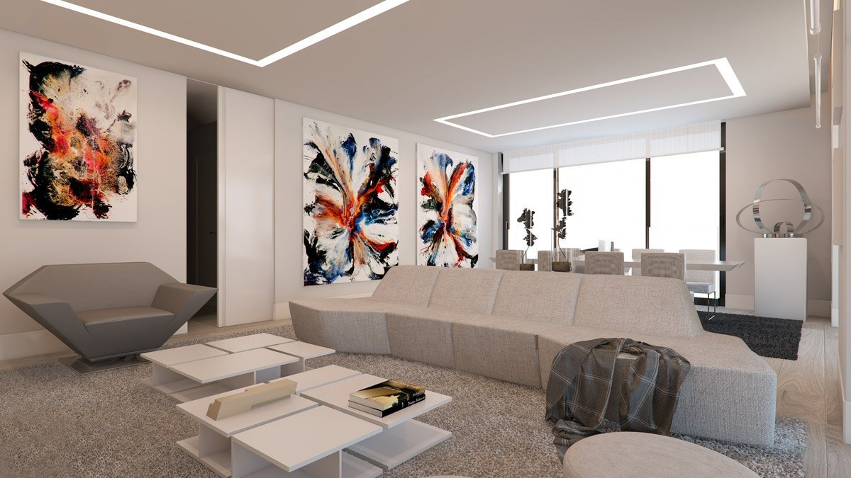 render interior living room view of Lagasca 46 luxury block of flats at Madrid