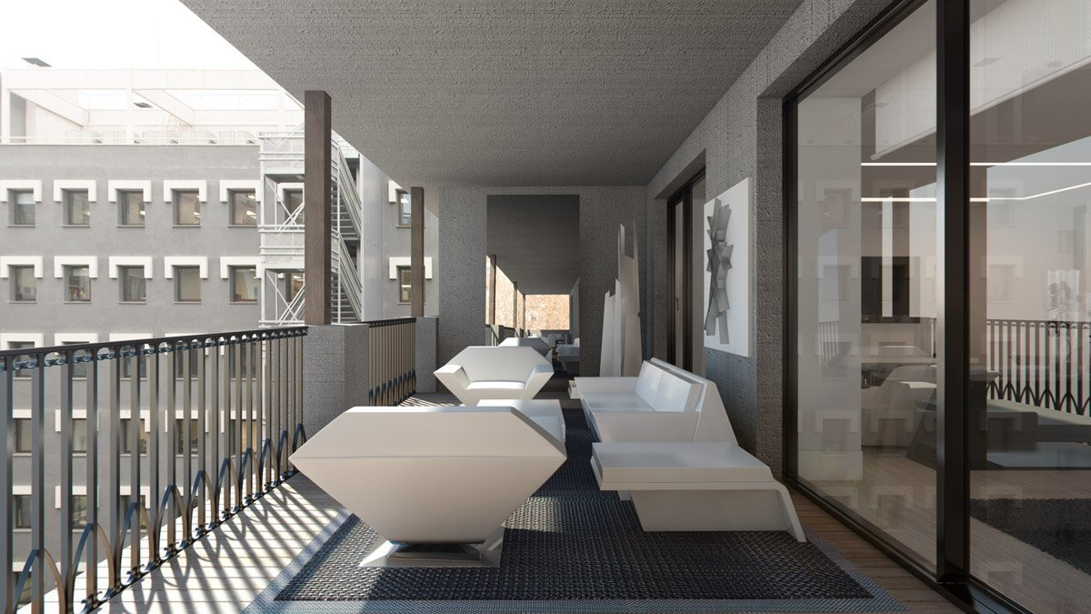 render exterior terrace view of Lagasca 46 luxury block of flats at Madrid