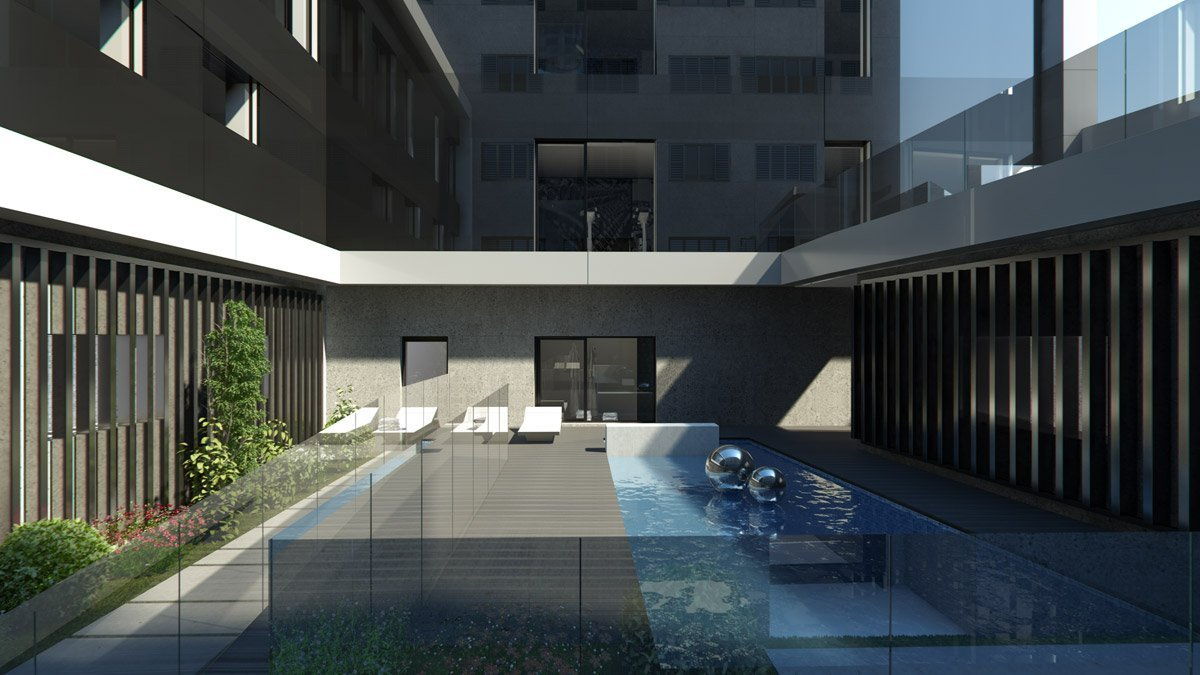 render exterior swimming pool view of Lagasca 46 luxury block of flats at Madrid