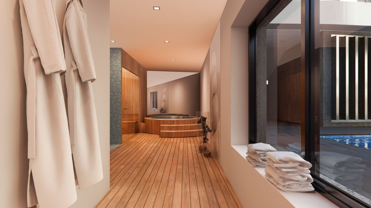 render interior spa room view of Lagasca 46 luxury block of flats at Madrid
