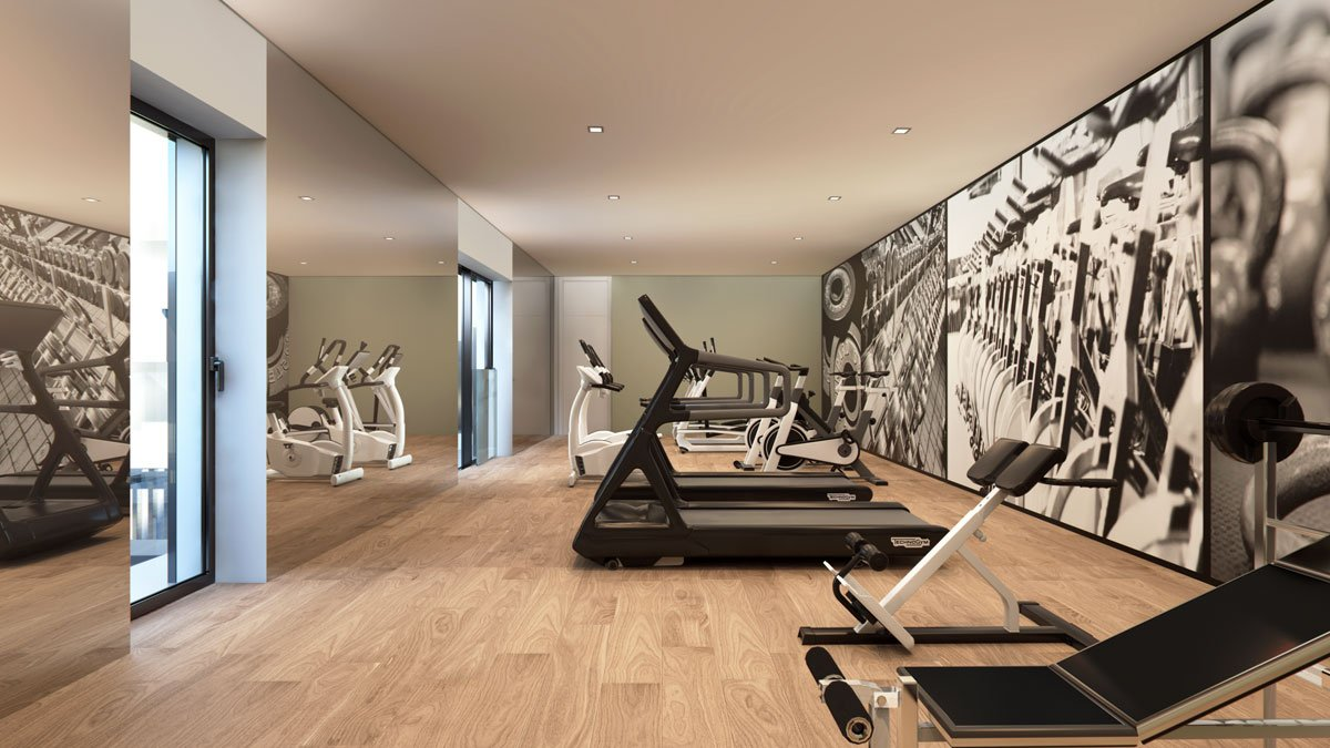 render interior gym view of Lagasca 46 luxury block of flats at Madrid