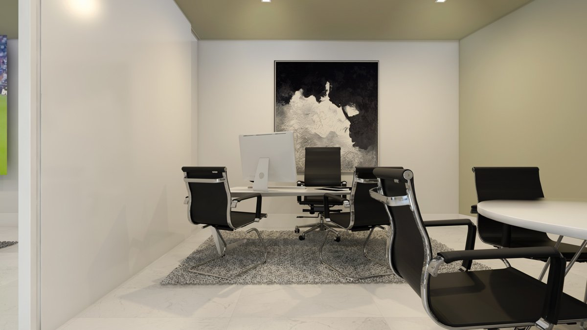 render interior study room view of Lagasca 46 luxury block of flats at Madrid