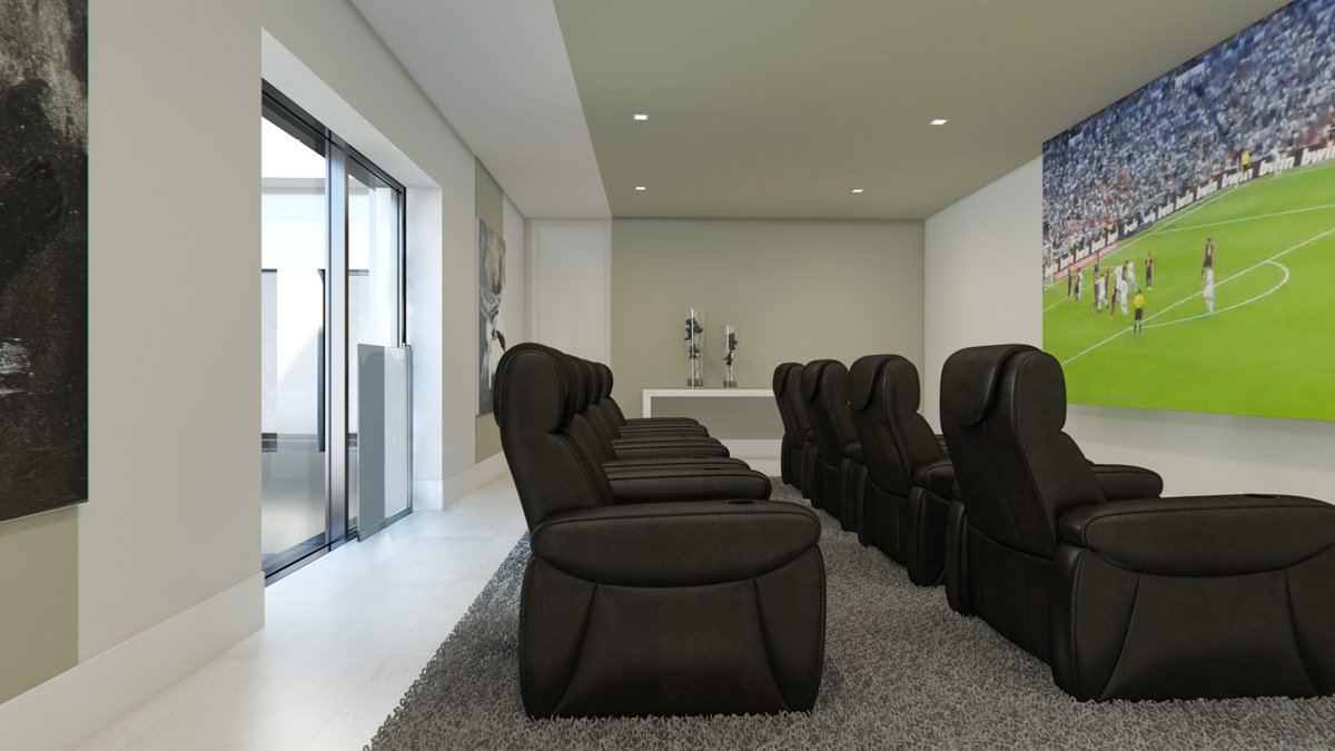 render interior tv room view of Lagasca 46 luxury block of flats at Madrid