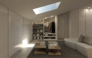 render interior view of bedroom of luxury houses at Madrid