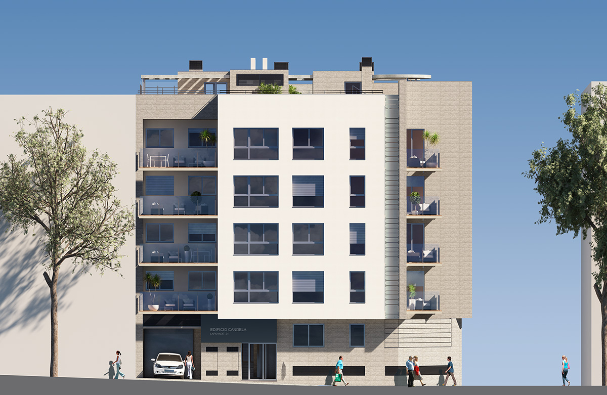 Lateral view Candela block of flats