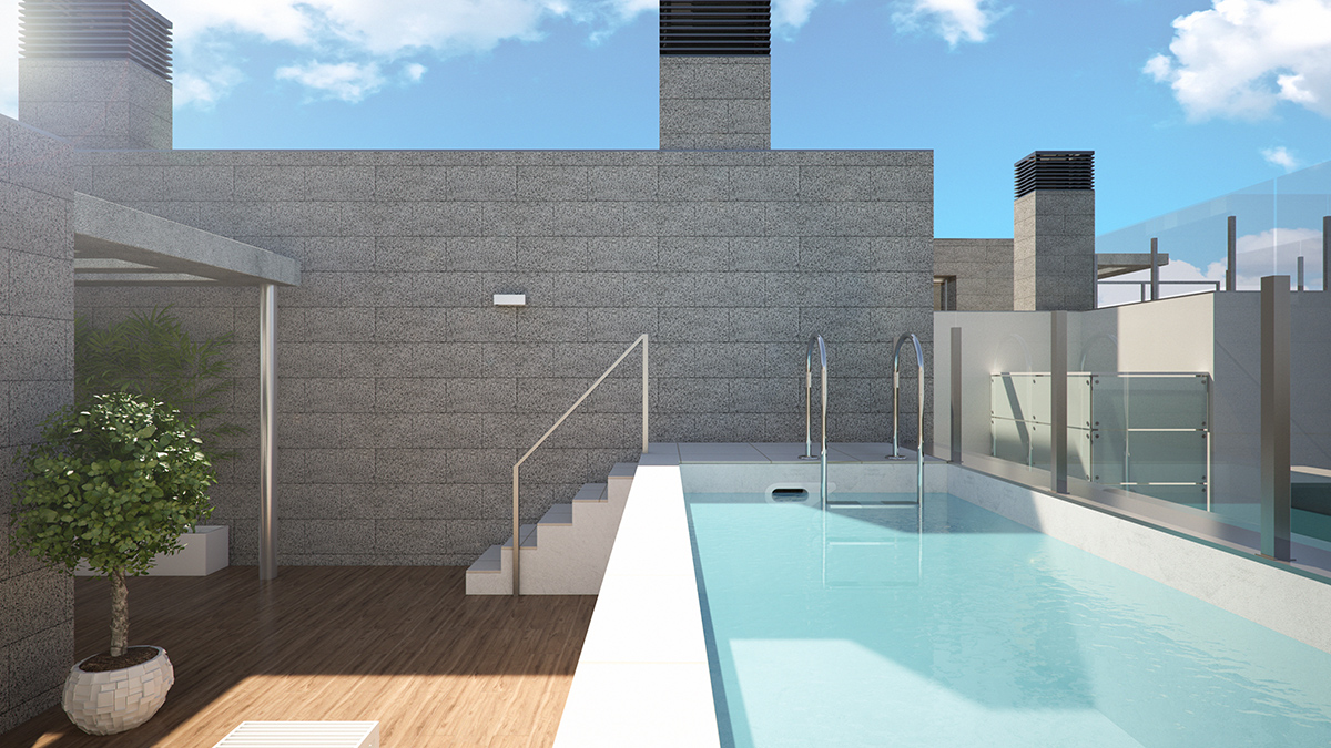 Penthouse terrace and private pool of Candela block of flats