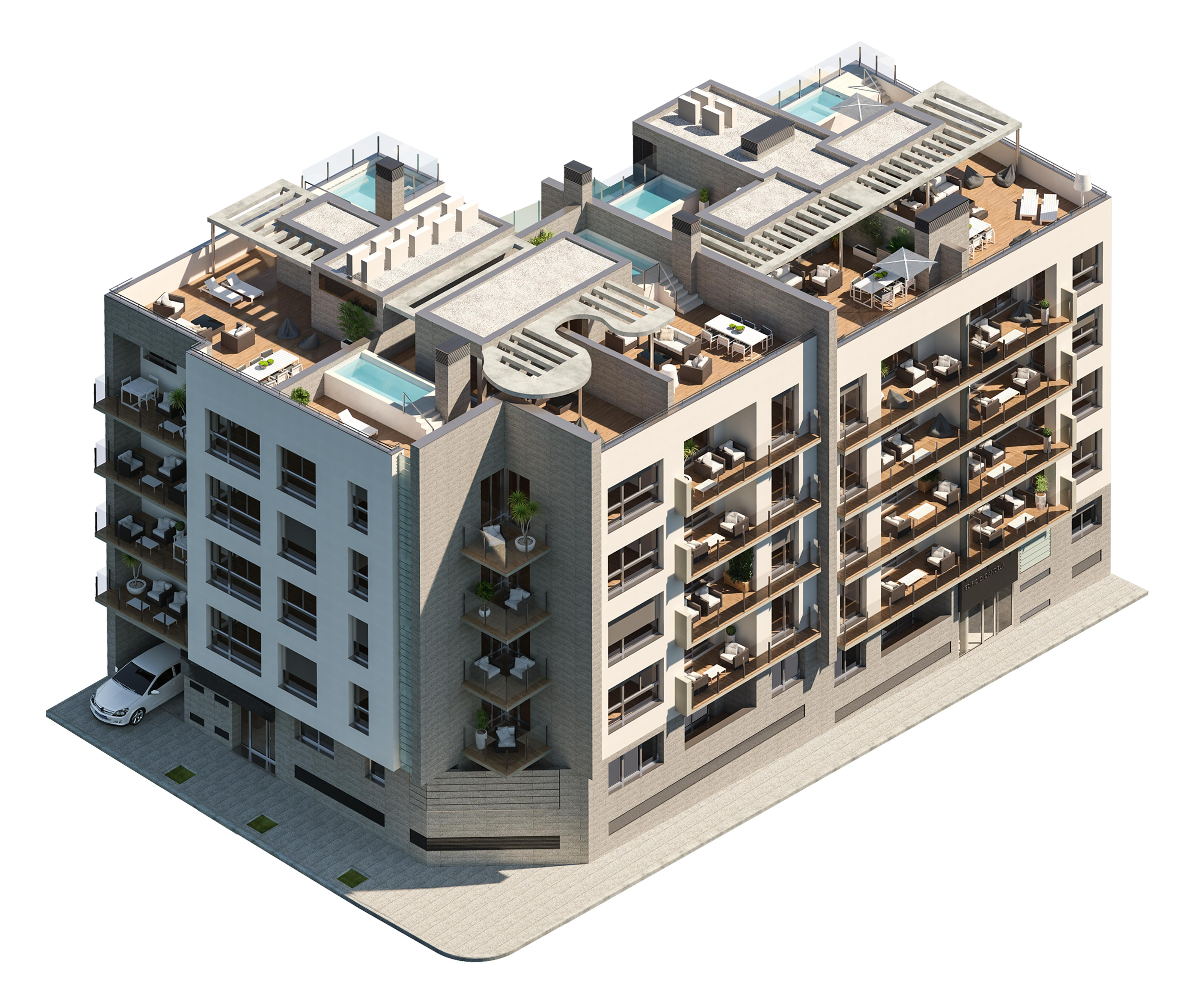 axonometric view of a block of flatst by GAYARRE infografia