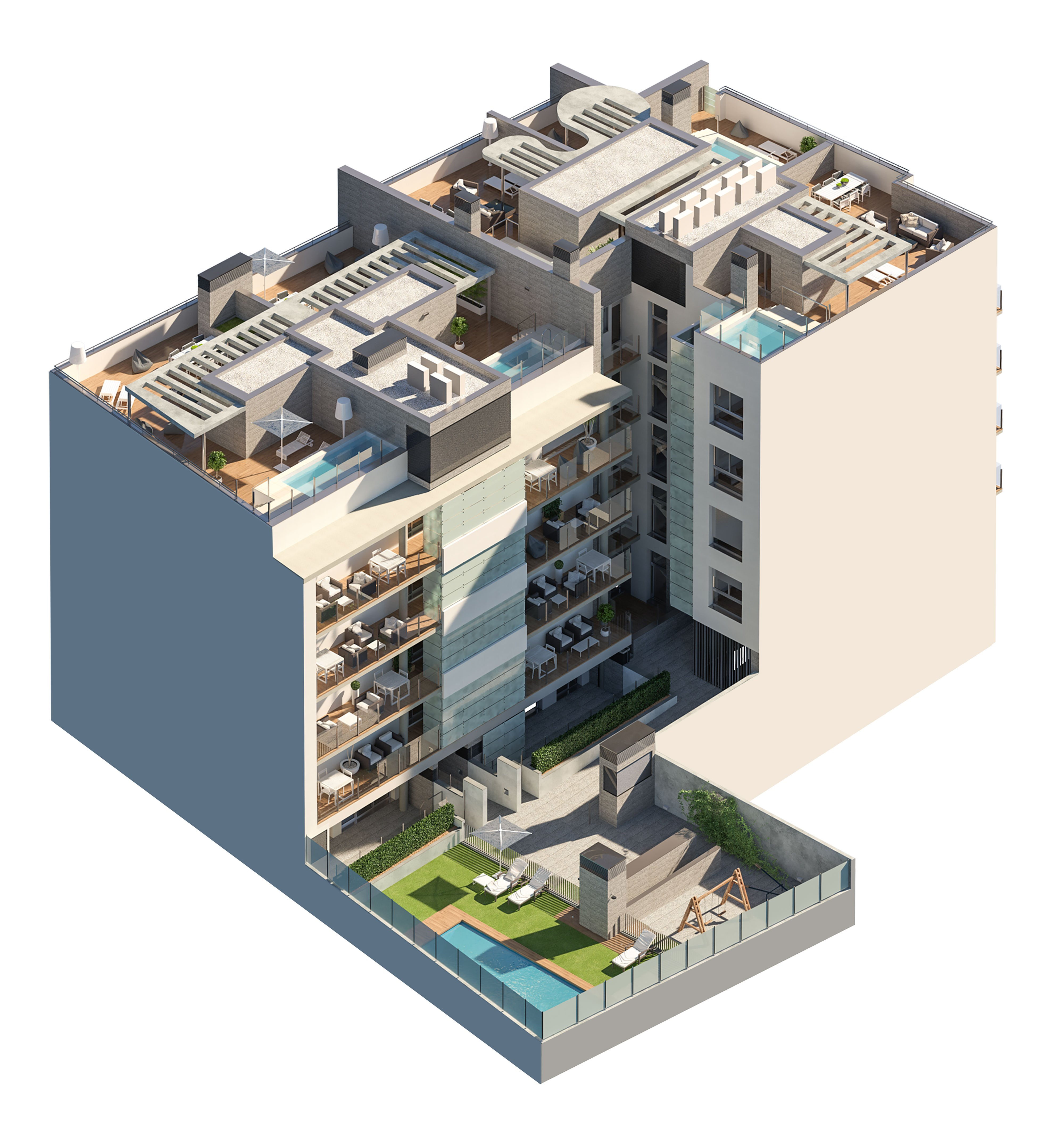 axonometric view of a block of flats by GAYARRE infografia