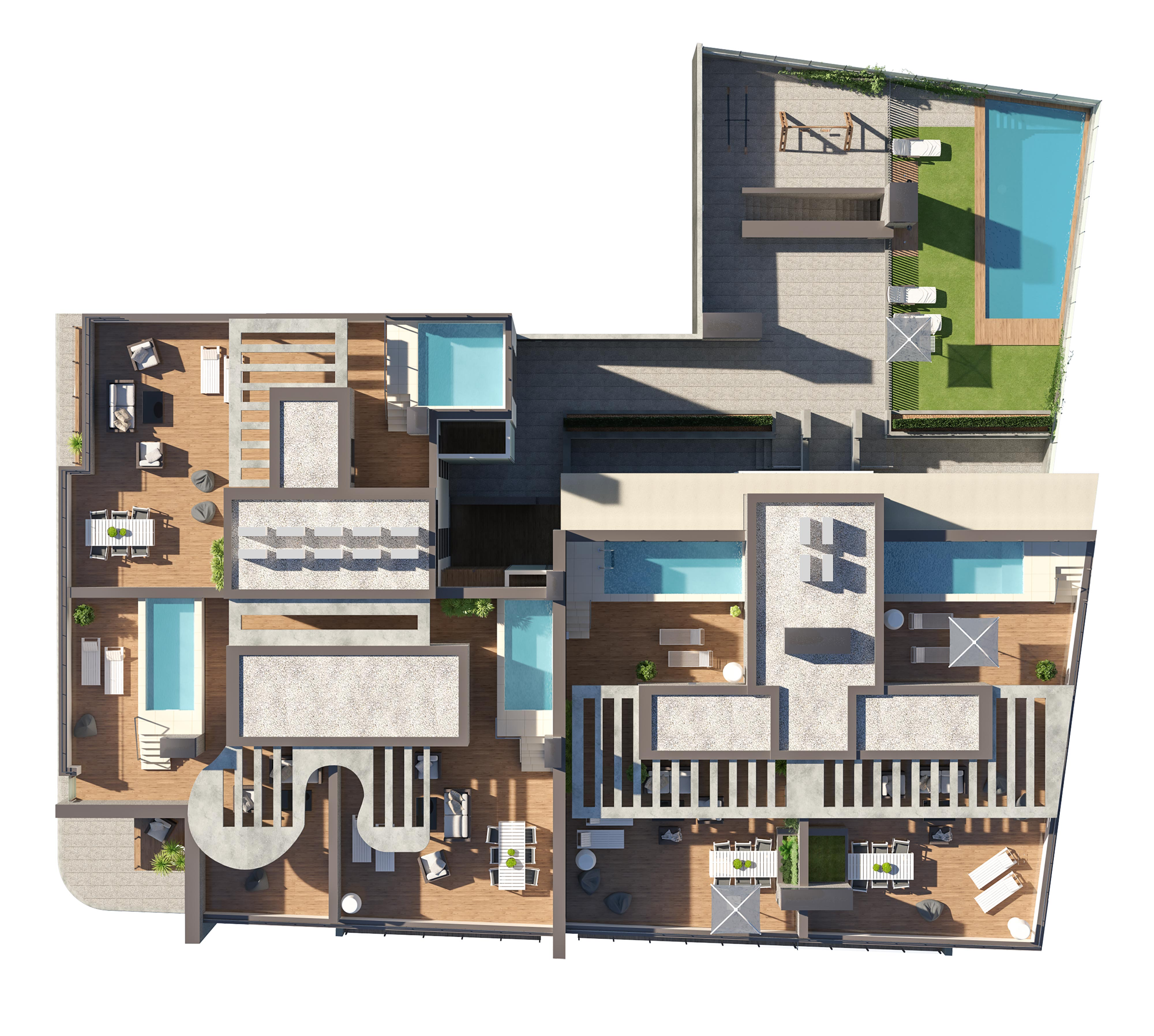 render top view of block of flats by GAYARRE infografia
