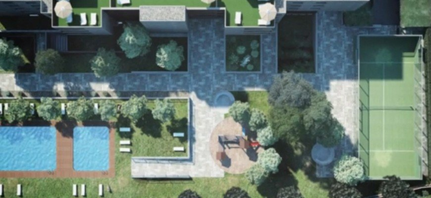 render aerial view sunny daylighting