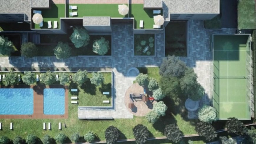Architectural animation - aerial view of the condominium