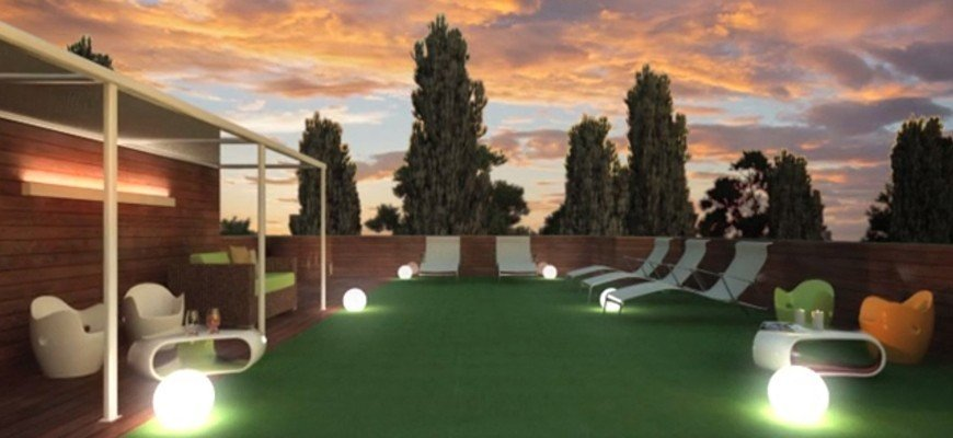 3d animation - render sunset daylighting of the penthouse terrace