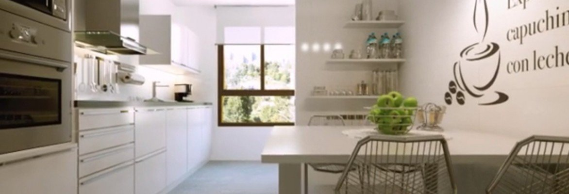 3d animation - render kitchen with a combination of natural light (warm) with an artificial (cold)