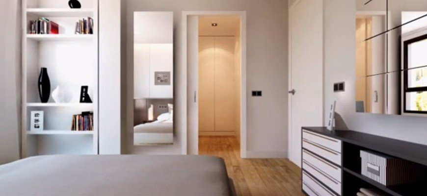 render interior bedroom with a combination of natural light (warm) with an artificial (cold)