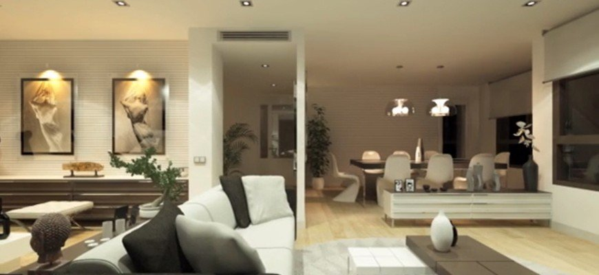 render interior living room night view, only artificial light
