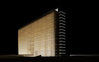 render exterior night view of a Doctor Center by GAYARRE infografia