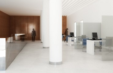 render interior of offices view for architectural contest at Mollet