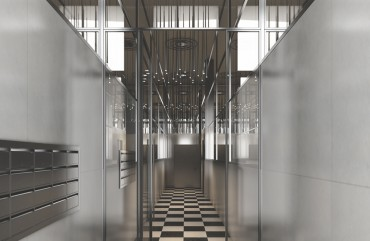 render interior hallway view of luxury block of flats at Brussels