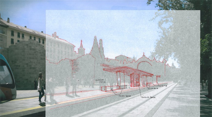 sketch for a render photomontage of tram at Zaragoza
