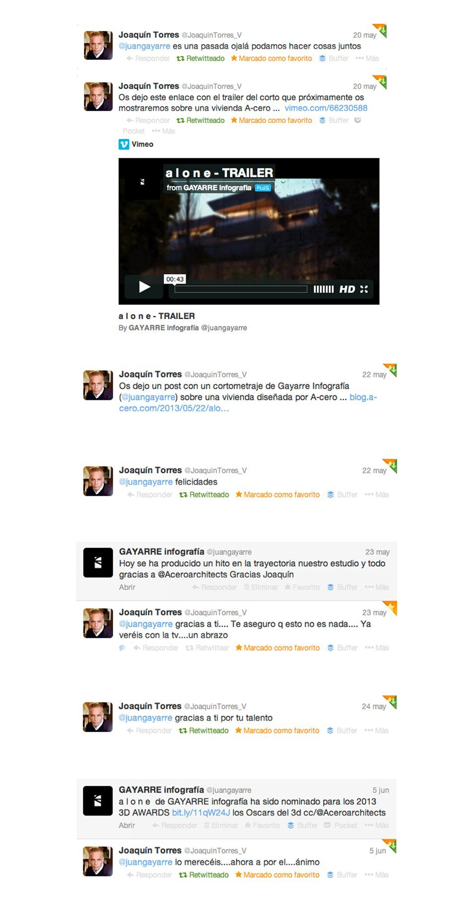 Tweets from Joaquín Torres talking about our trailer alone nominee to the CGArchitects Awards 2013
