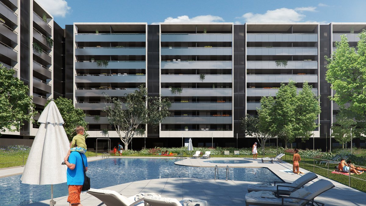 render exterior swimming pool view of Villamiral block of flats at Zaragoza