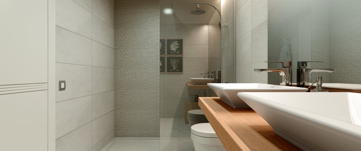 render interior bathroom view of Villamiral block of flats at Zaragoza