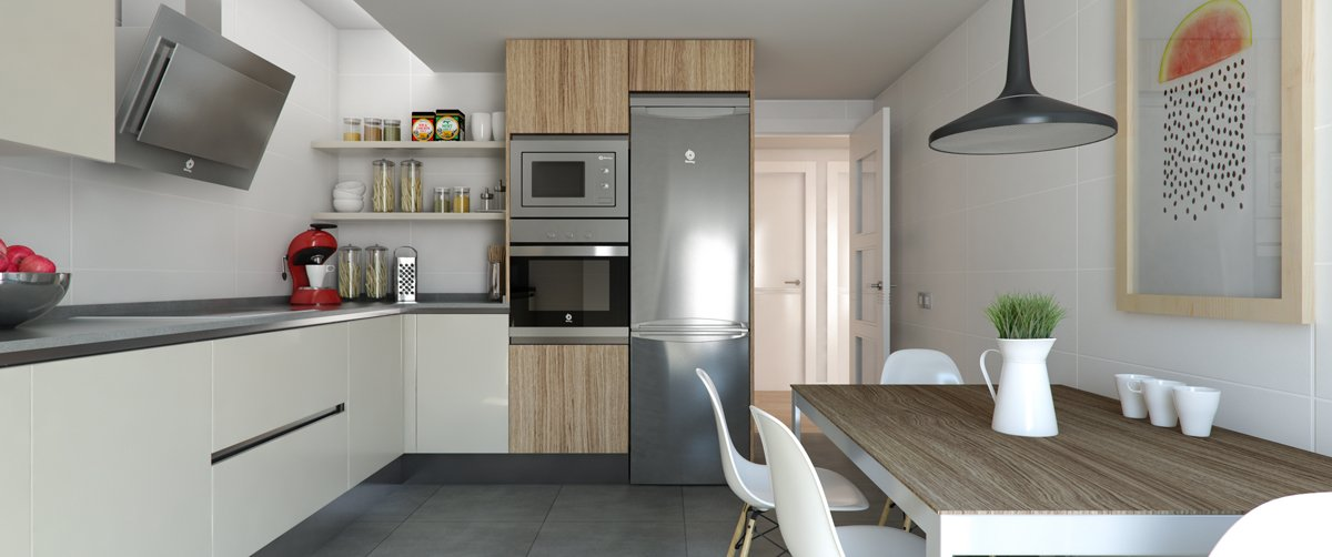 render interior kitchen view of Villamiral block of flats at Zaragoza