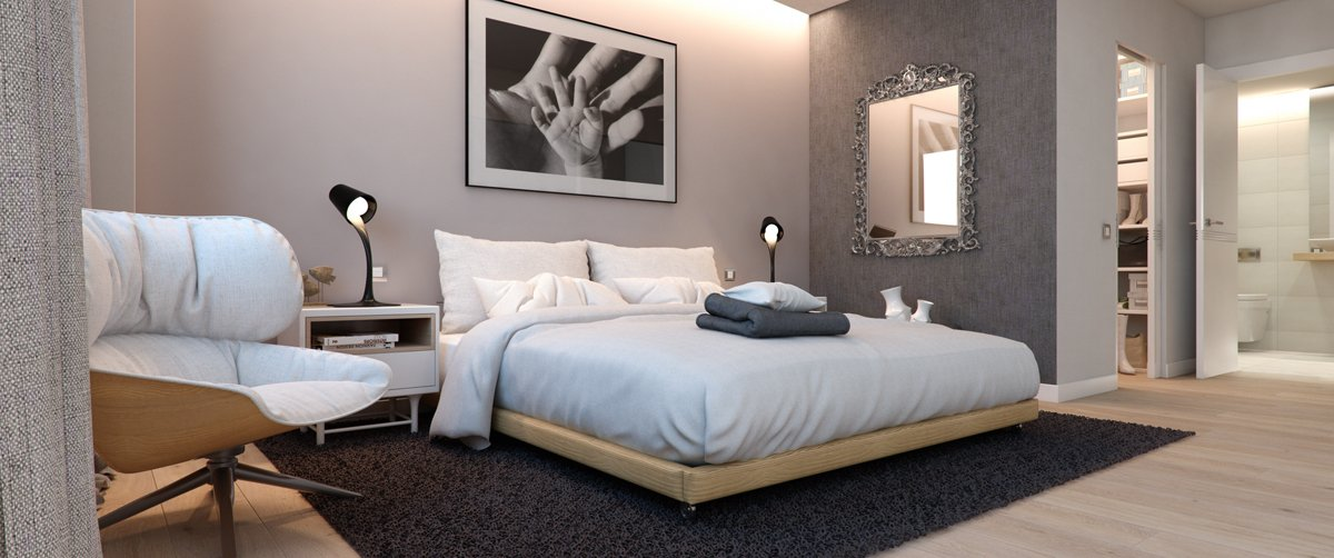 render interior bedroom view of Villamiral block of flats at Zaragoza