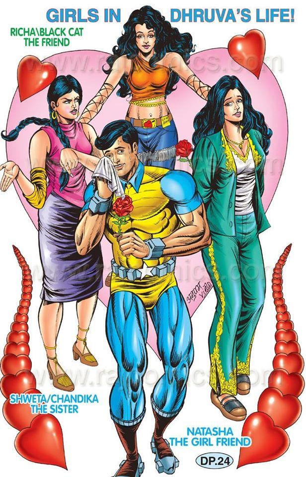 Raj Comics Poster By Anupam Sinha Dhruv, Richa, Natahsha and Shweta/Chandika