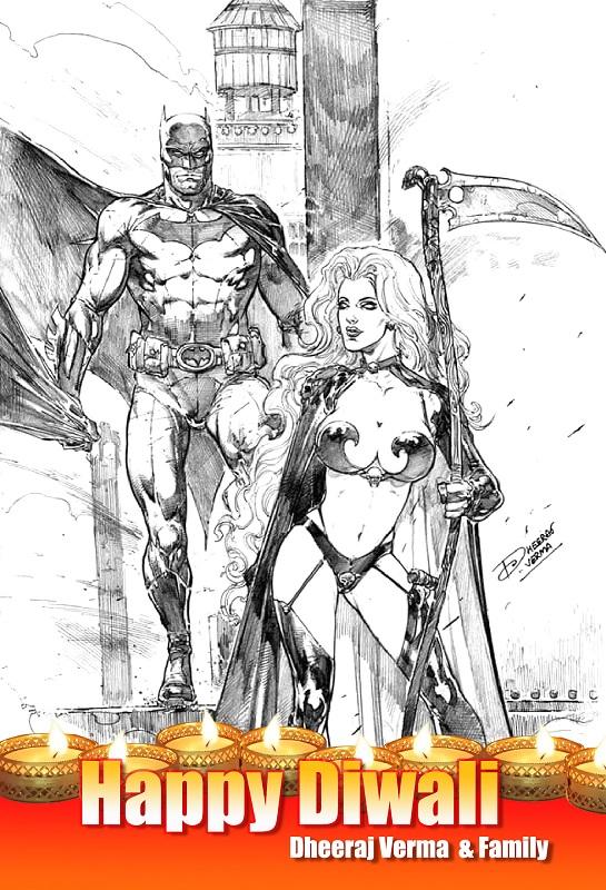 Dheeraj Verma Art - Batman And Lady Death