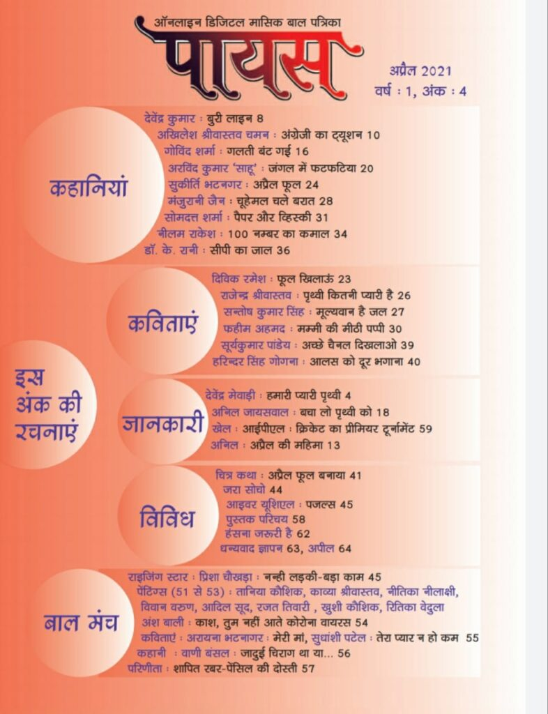 Payas Baal Patrika April Issue Index