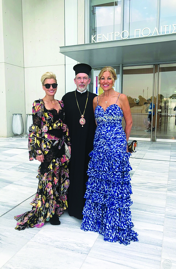 His Eminence Metropolitan Cleopas of Sweden with Victoria and Eleni Bousis