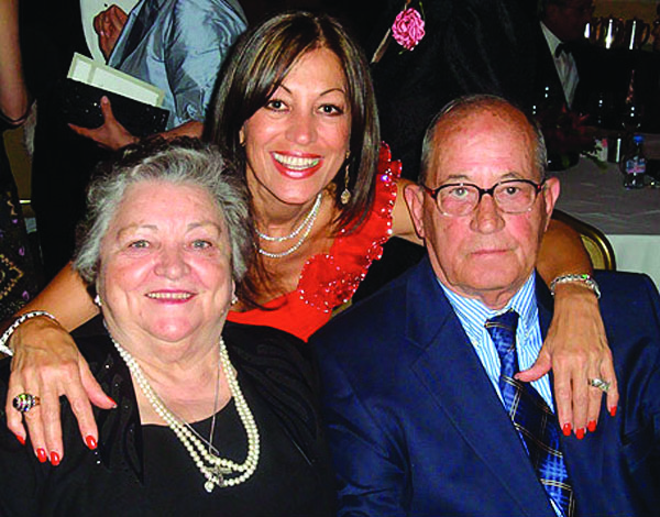 Eleni Bousis with her parents