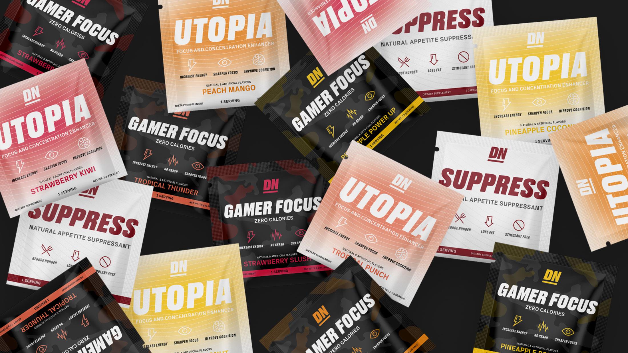 A variety of De Novo supplement sachet packets randomly scattered
