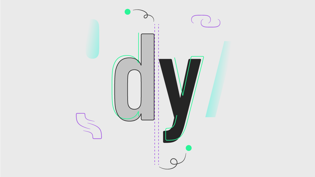 Colourful line illustration showing the letters d and y, symbolising editorial and print design