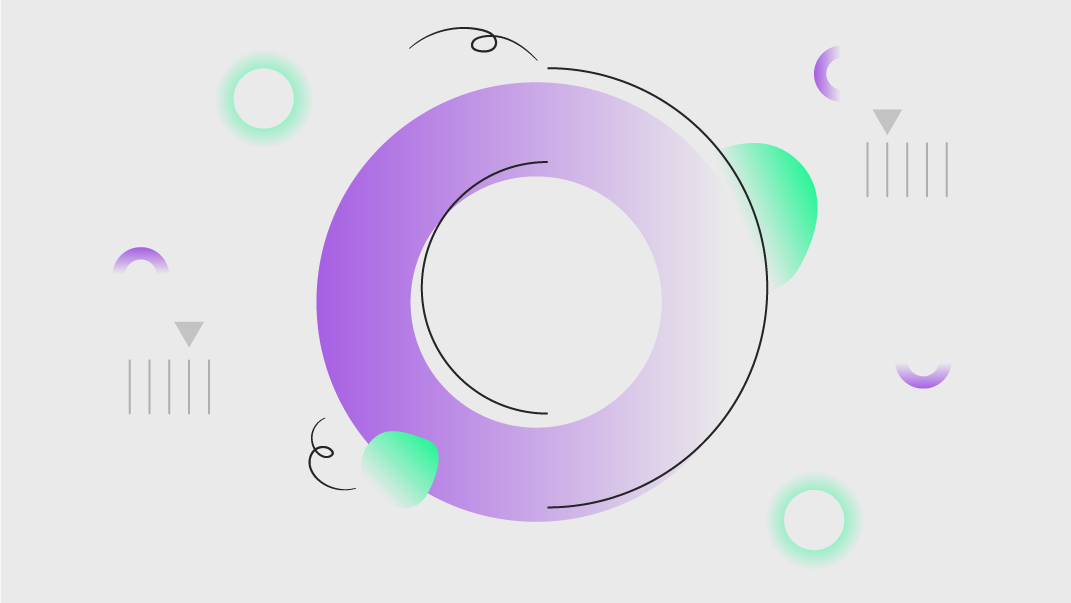 Colourful abstract line illustration showing a purple circle surrounded by different shapes suggesting motion