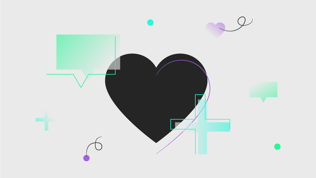 Colourful line illustration of elements relating to social media content creation, a black heart, a speech bubble and a plus sign