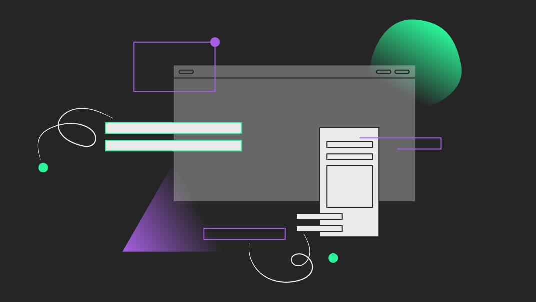 Colourful line illustration showing elements from website design