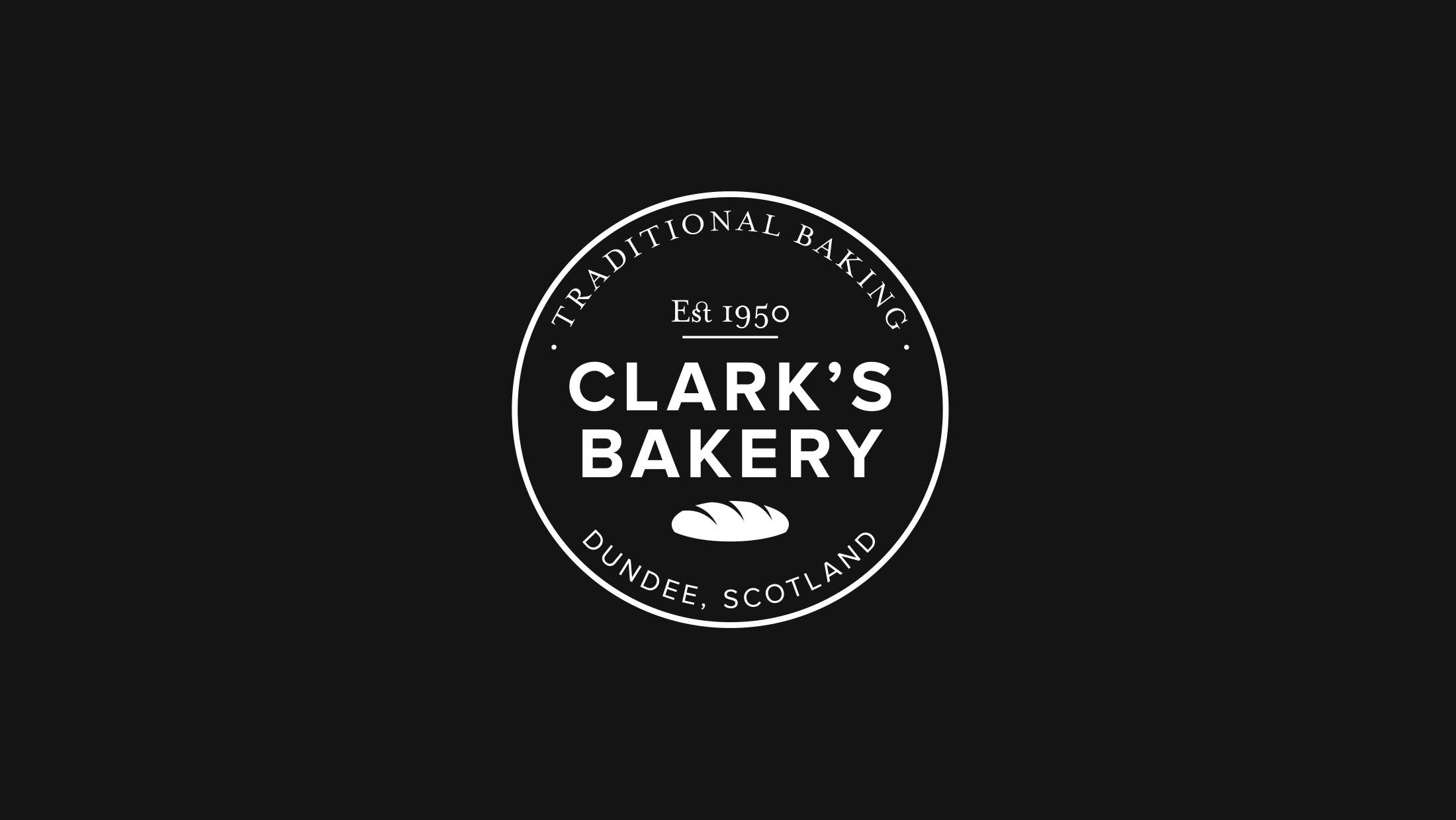 White circular Clark's Bakery logo on a black background