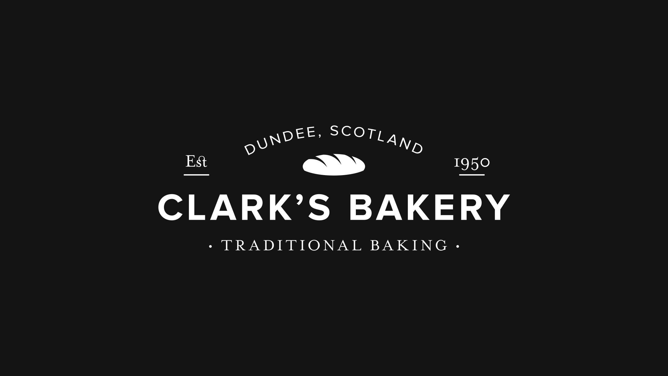 White Clark's Bakery logo on a black background
